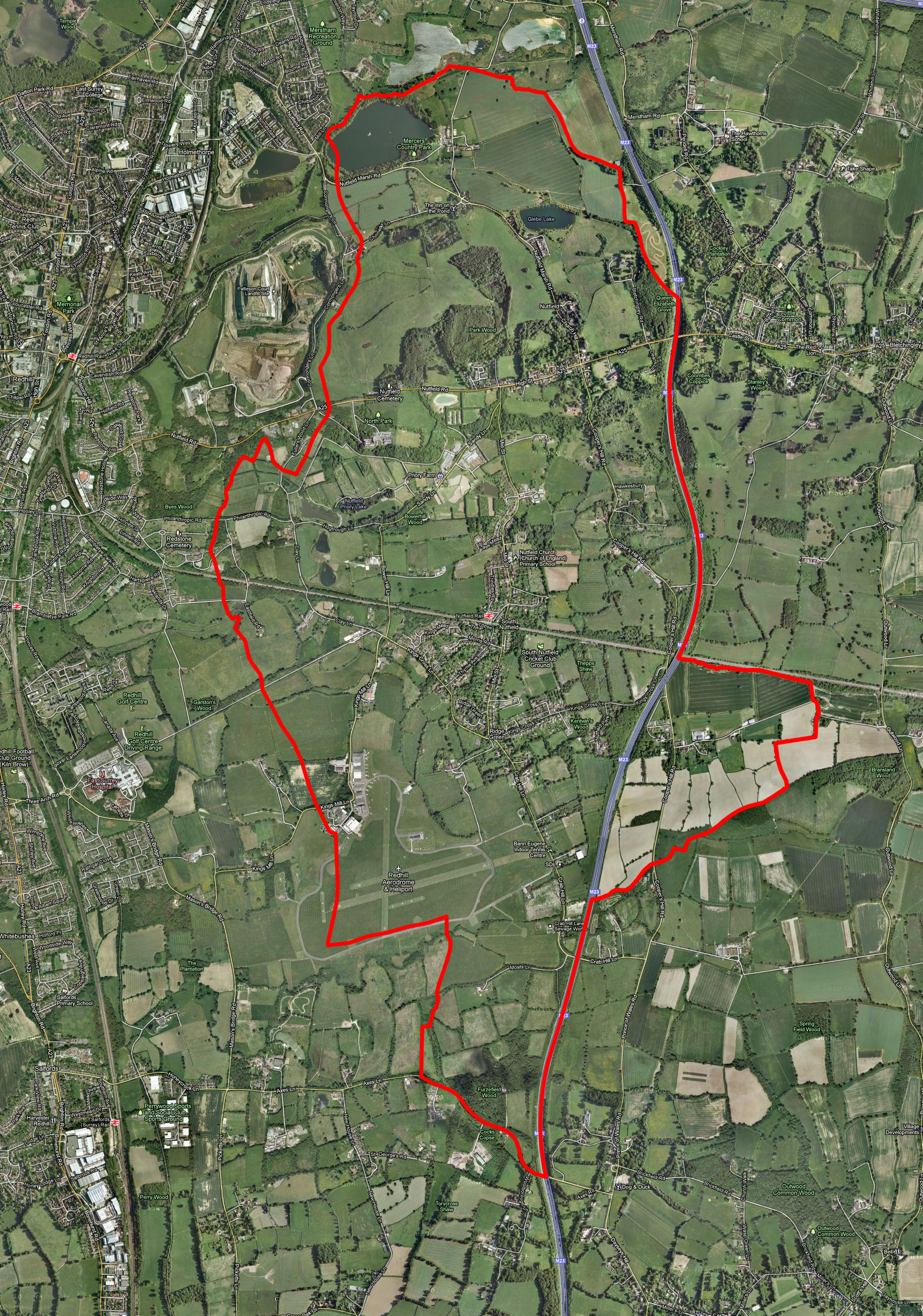 Satellite map of Nutfield Parish