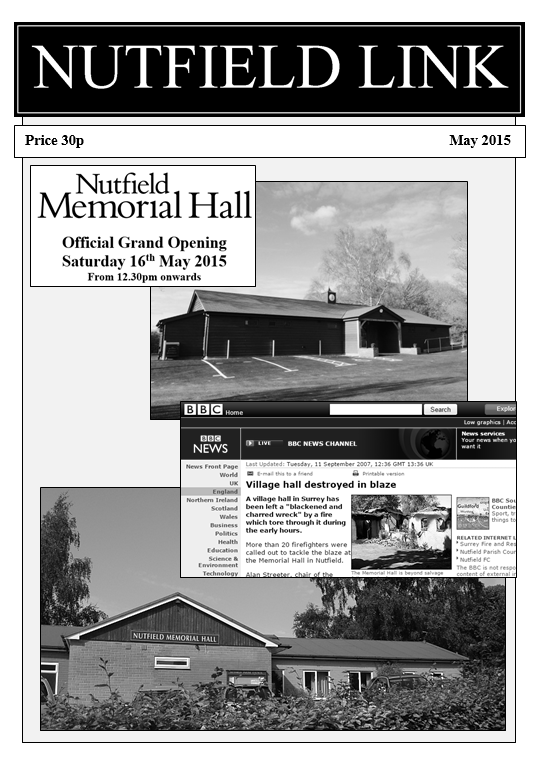 Front page of Nutfield Link magazine, promoting the grand opening of the Nutfield Memorial Hall