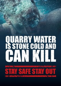 Quarry Water is Stone Cold and can kill - stay safe stay out image