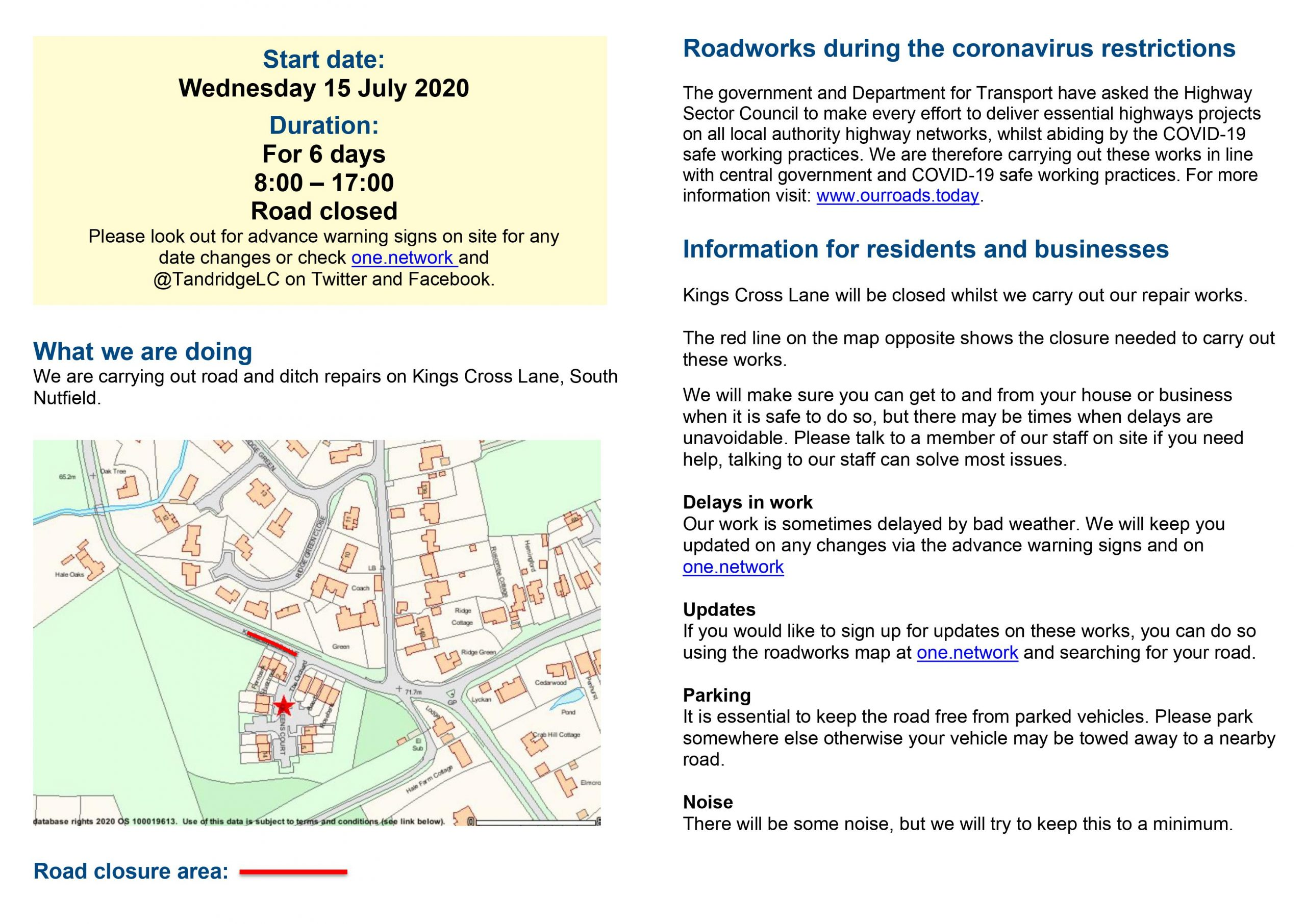 Road closure on Kings Cross Lane, South Nutfield - Road and ditch repairs leaflet 1