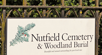 Nutfield Cemetery & Woodland Burial sign