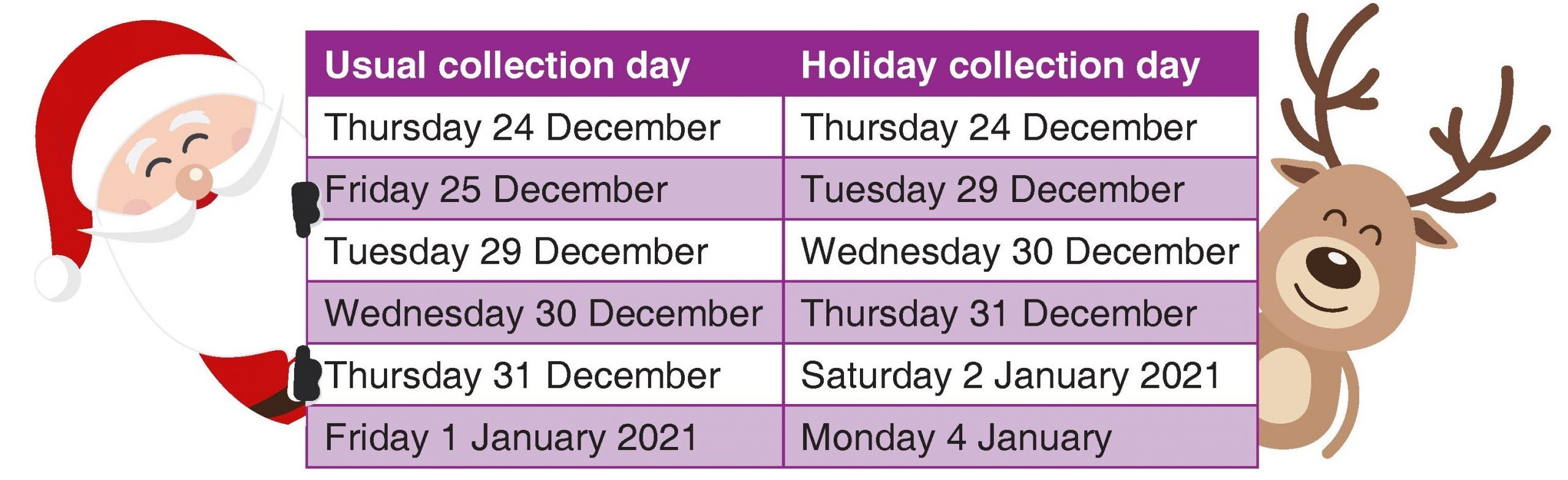 details of amended rubbish collection date image