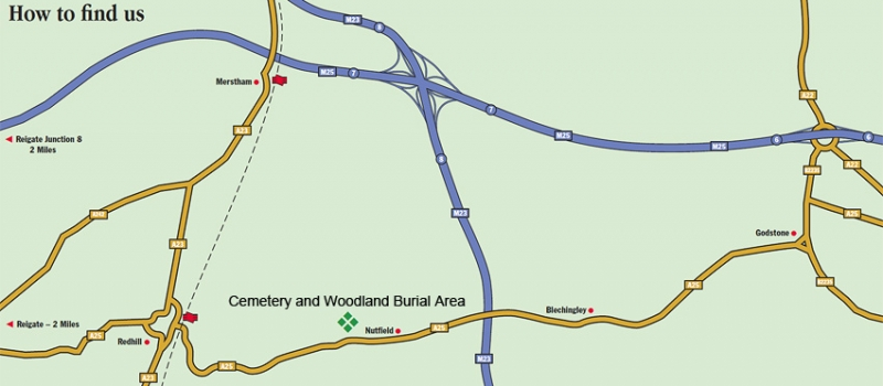 Map to the Cemetery and Woodland Burial Area
